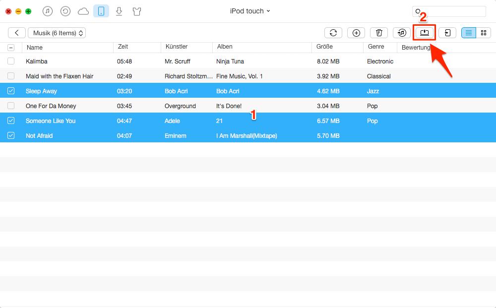 iPod Musik auf Mac transportieren – Schritt 3