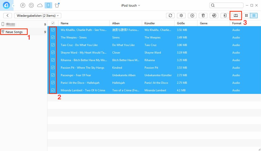 iPod Wiedergabeliste auf PC übertragen – Schritt 3