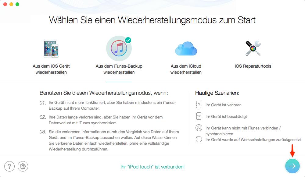 iTunes-Backup auswählen – Schritt 1