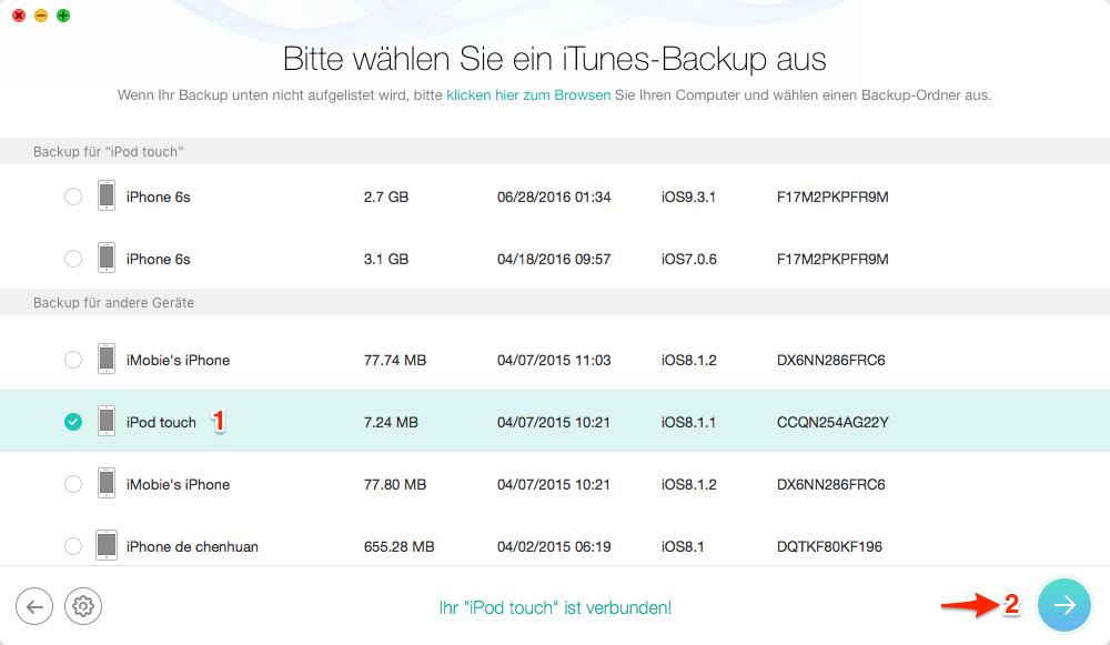 Backup von iTunes auswählen – Schritt 2