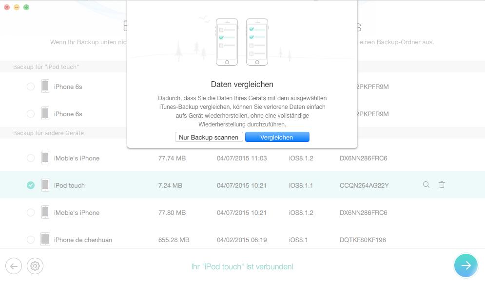 Daten mit dem Backup vergleichen – Schritt 3