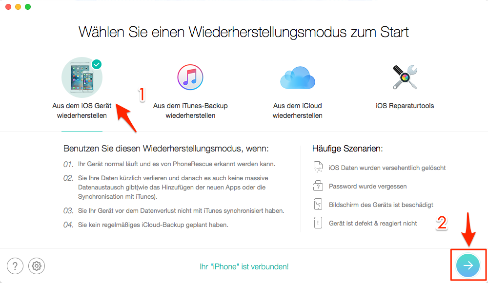 PhoneRescue – Beste iTunes Alternative für Wiederherstellen am Mac
