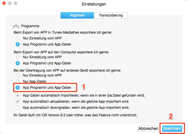 Apps und App-Daten gleichzeitig übertragen
