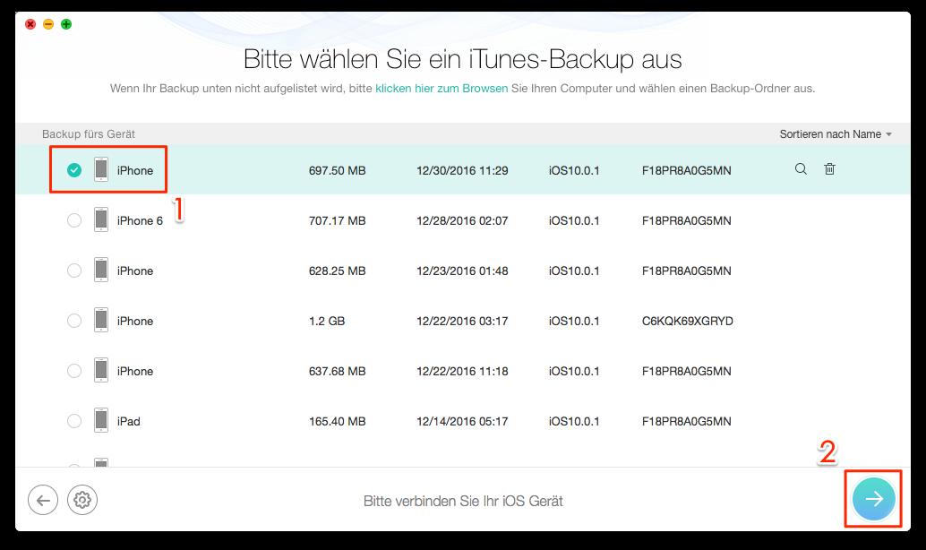 iTunes Backup auswählen - Schritt 2