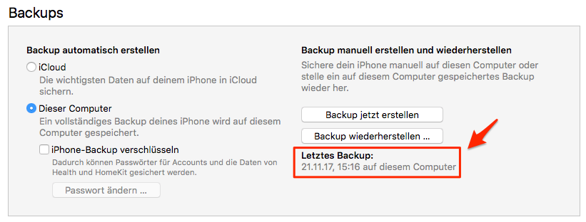 iTunes Backup beschädigt – Backup mit AnyTrans