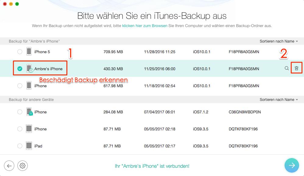iTunes beschädigt Backup mit PhoneRescue sofort löschen – Schritt 3