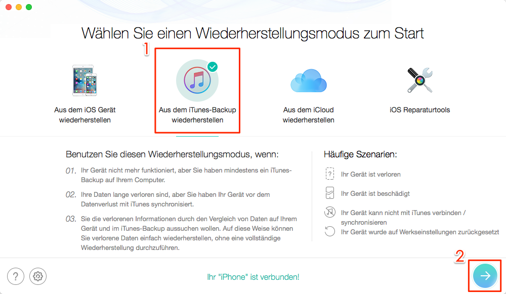 PhoneRescue starten und iTunes Backup zugreifen – Schritt 2