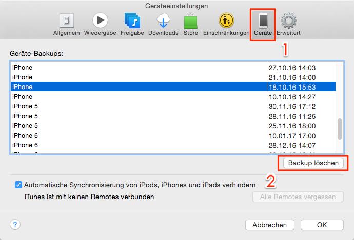 Beschädigtes iTunes-Backup löschen