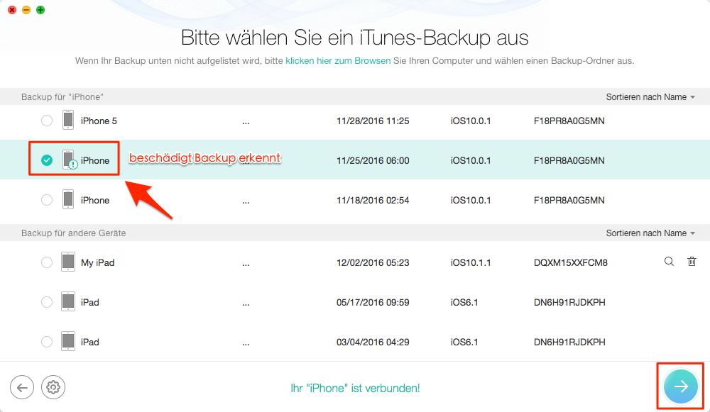 Beschädigt & nicht kompatibel iTunes-Backup auswählen – Schritt 3
