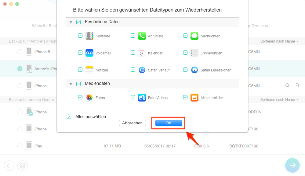 Gewünschte Dateien von beschädigen Backup auswählen – Schritt 4