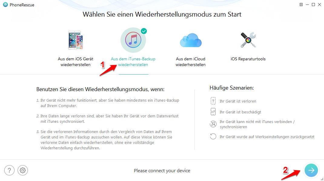 iTunes Backup Passwort vergessen und was tun – Schritt 1