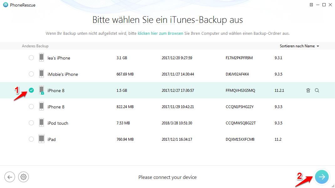 iTunes Backup Passwort vergessen – Schritt 2