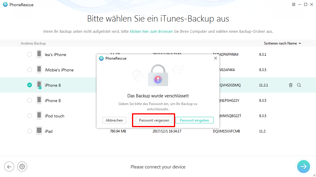 Backup Passwort vergessen iTunes und was tun – Schritt 3