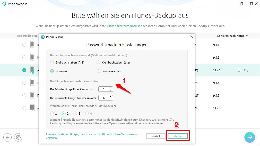 iTunes Passwort Backup vergessen und was tun – Schritt 4