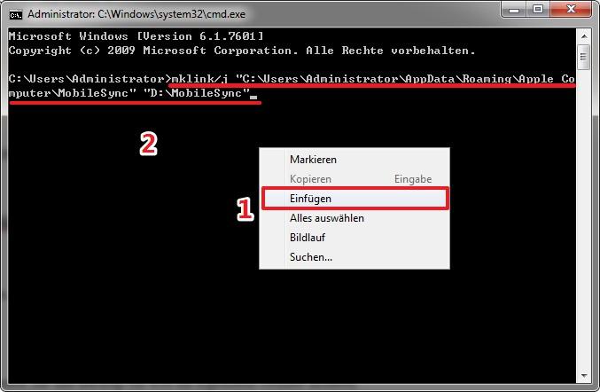 iTunes Backup Speicherort ändern Win7