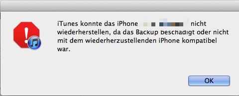 iTunes Backup wiederherstellen funktioniert nicht