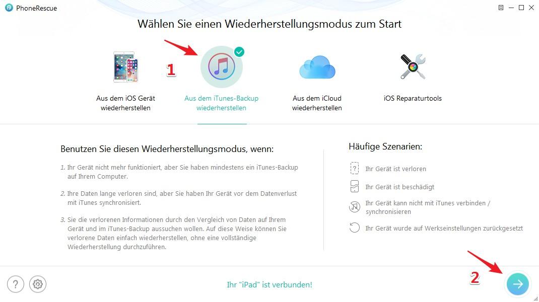 iPhone Backup wiederherstellen - Schritt 1