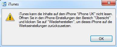 iTunes kann die Inhalte auf dem iPhone nicht lesen