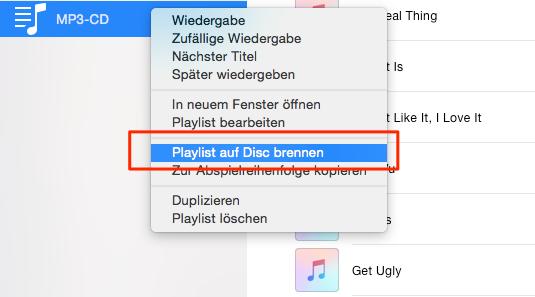 iTunes MP3-CD brennen – Schritt 2