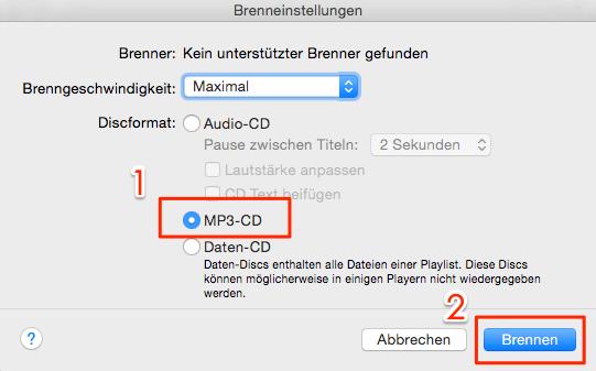 iTunes CD brennen – Schritt 3