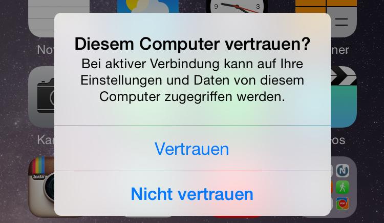iPhone wird nicht von iTunes erkannt - deinem Computer vertrauen