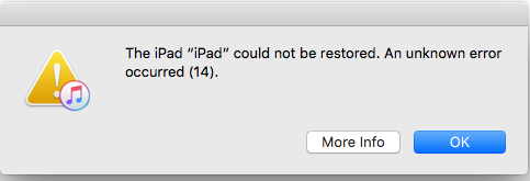 iTunes Fehler 14 nach dem Update auf iOS 11