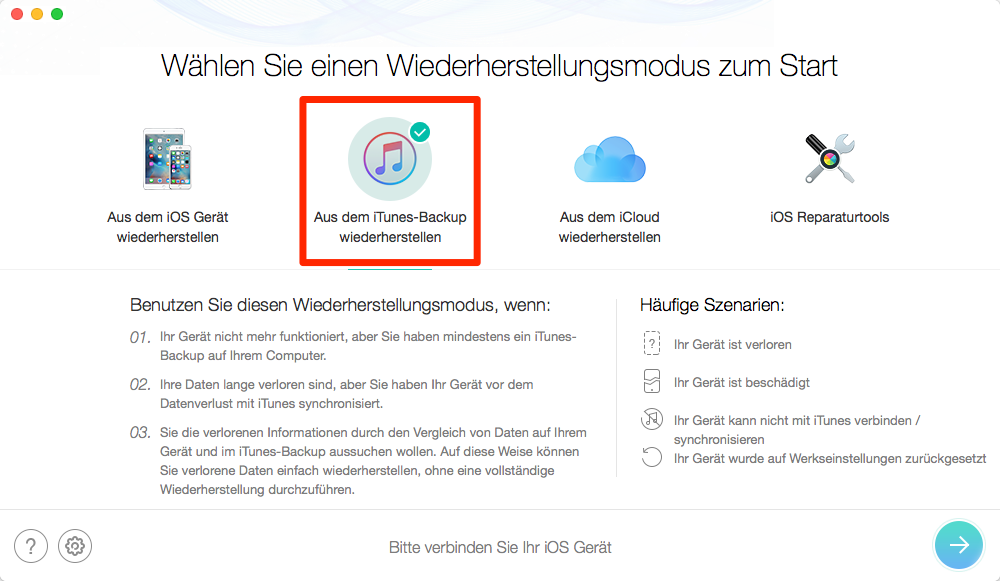 iTunes Backup wiederherstellen – mit PhoneRescue