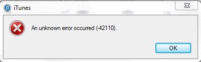 iTunes Fehler 42110