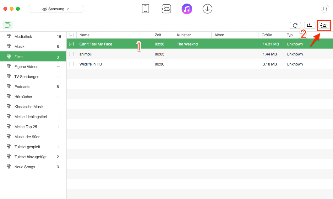 iTunes Filme auf Android erfolgreich übertragen – Filme auswählen
