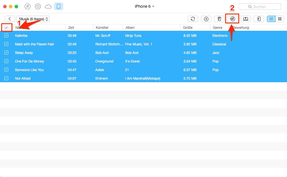 Gelöschte iTunes Musik wiederherstellen – Schritt 3