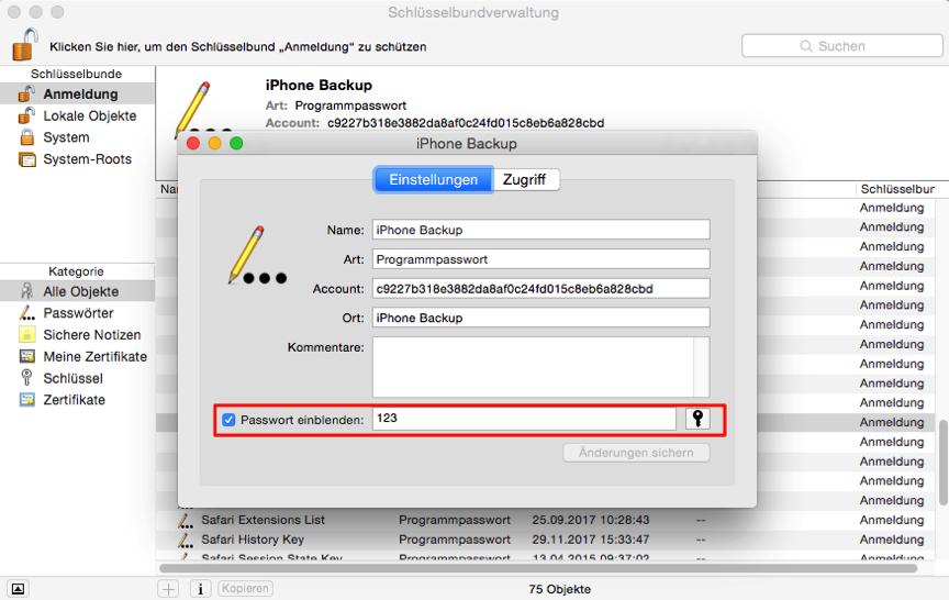 iTunes konnte das iPhone nicht wiederherstellen da das Passwort falsch ist – mit Schlüsselbund