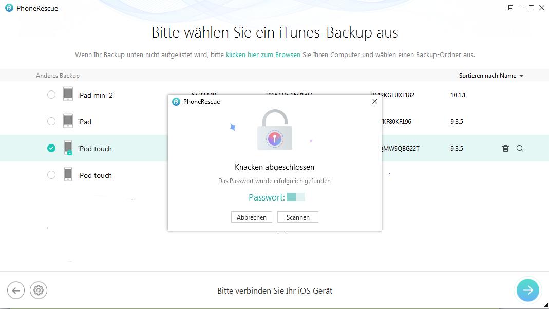 iTunes konnte kein Backup des iPhones durchführen Passwort vergessen