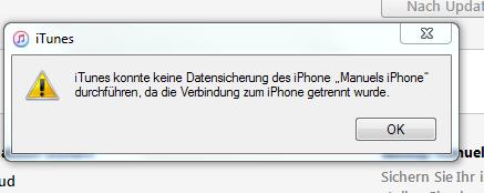 iTunes konnte kein Backup des iPhone durchführen