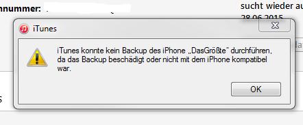 iTunes konnte kein Backup des iPhones durchführen