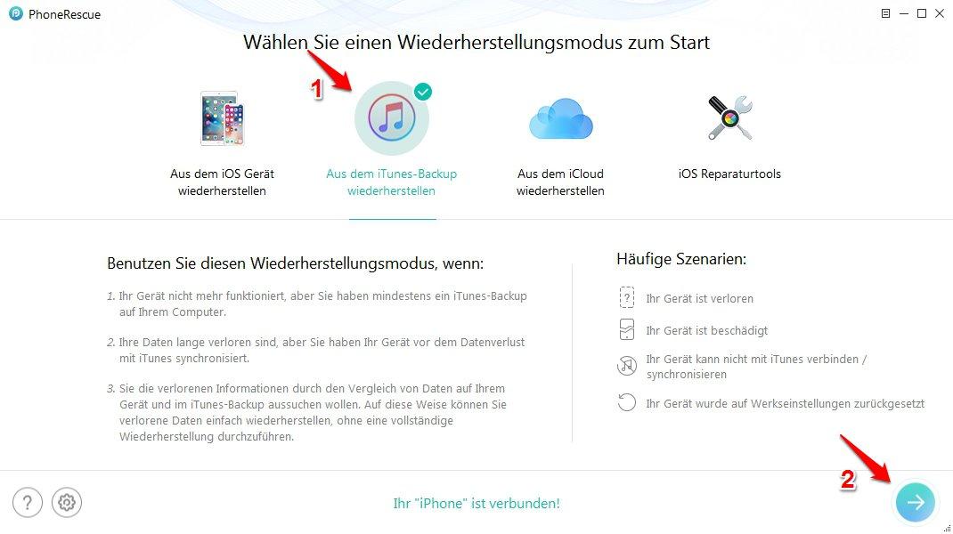 beschädigt iTunes konnte kein Backup des iPhones durchführen - Schritt 1