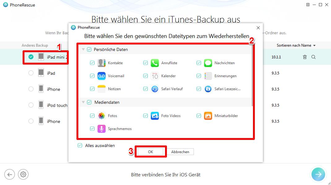 iTunes Backup kann nicht benutzen - Schritt 2