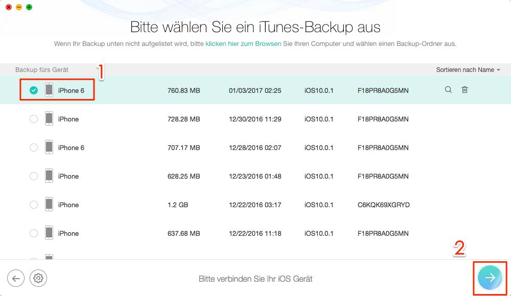 iOS-Gerät und Backup auswählen - Schritt 2
