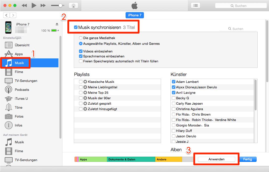 Inhalte aus iTunes Mediathek auf iPhone übertragen – Schritt 3