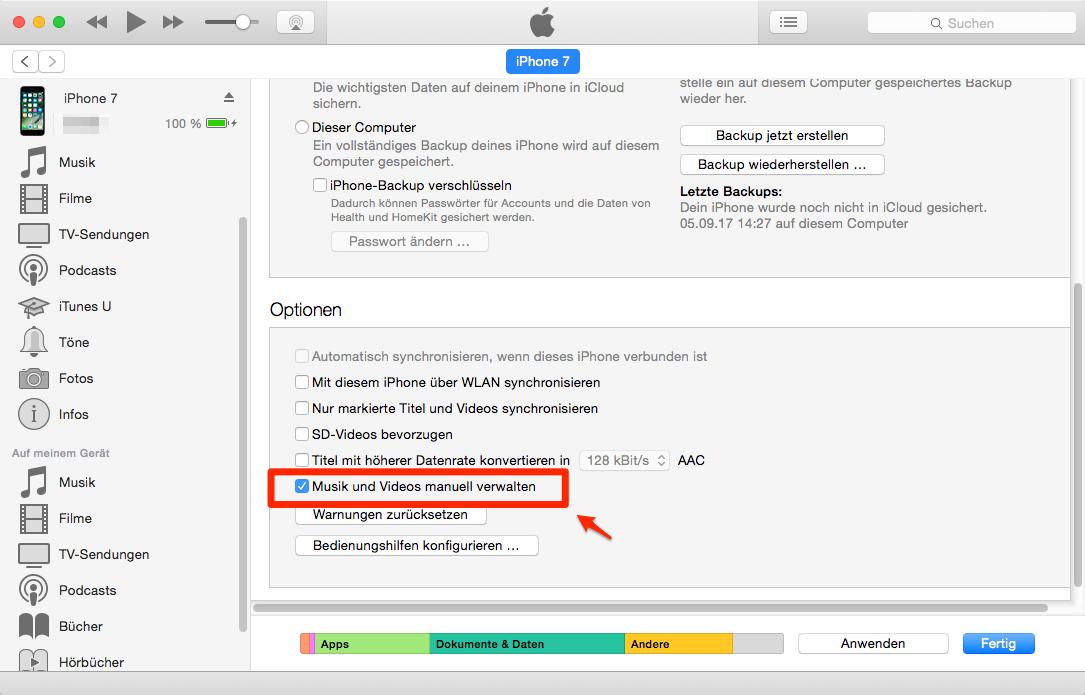 iTunes einstellen – Schritt 4