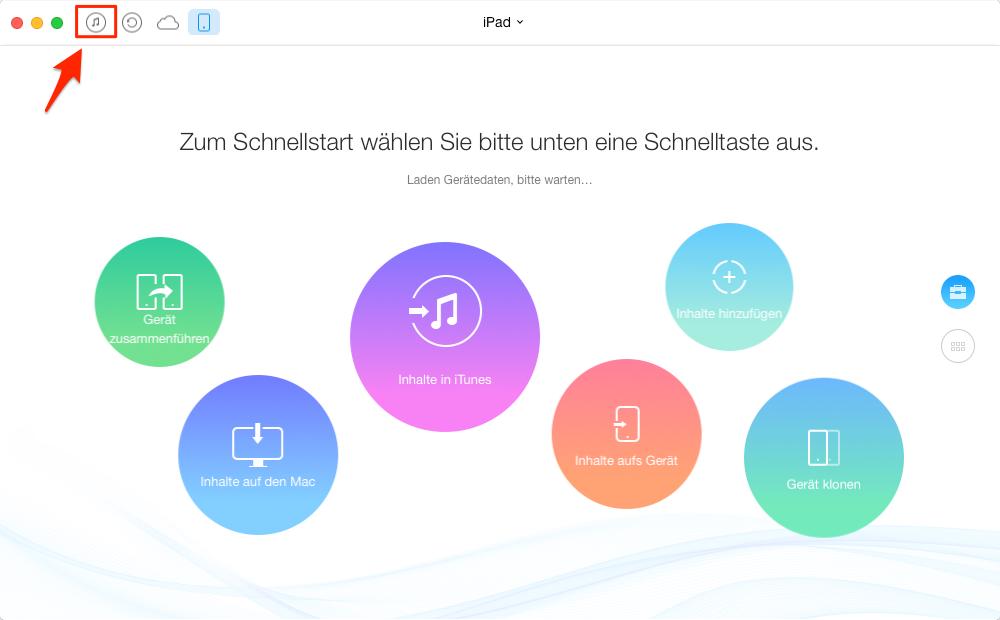 AnyTrans starten und iTunes-Mediathek öffnen - Schritt 1