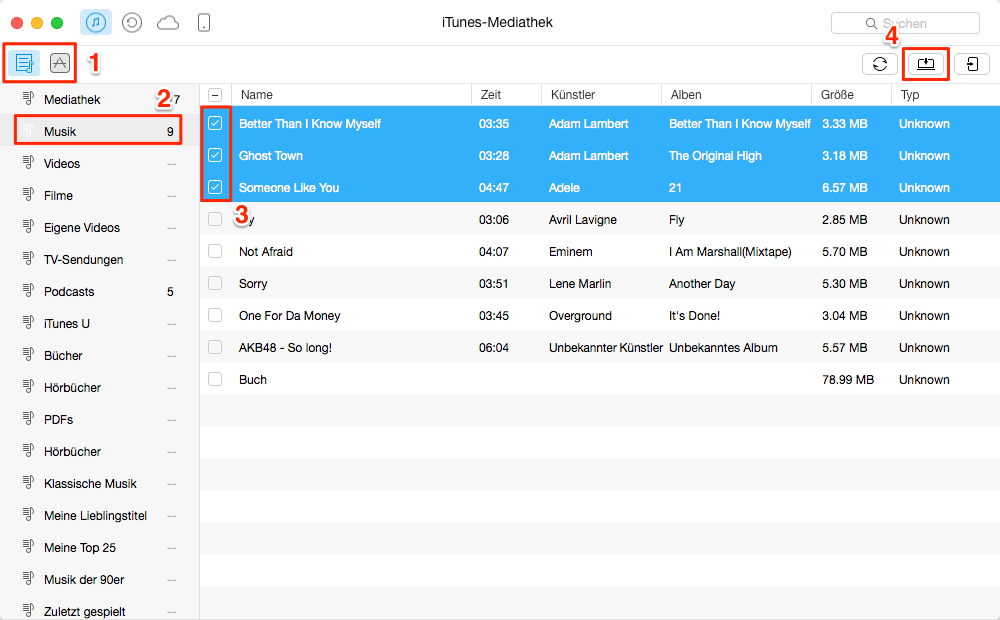 Einfach! Inhalte in iTunes Mediathek auswählen - Schritt 2