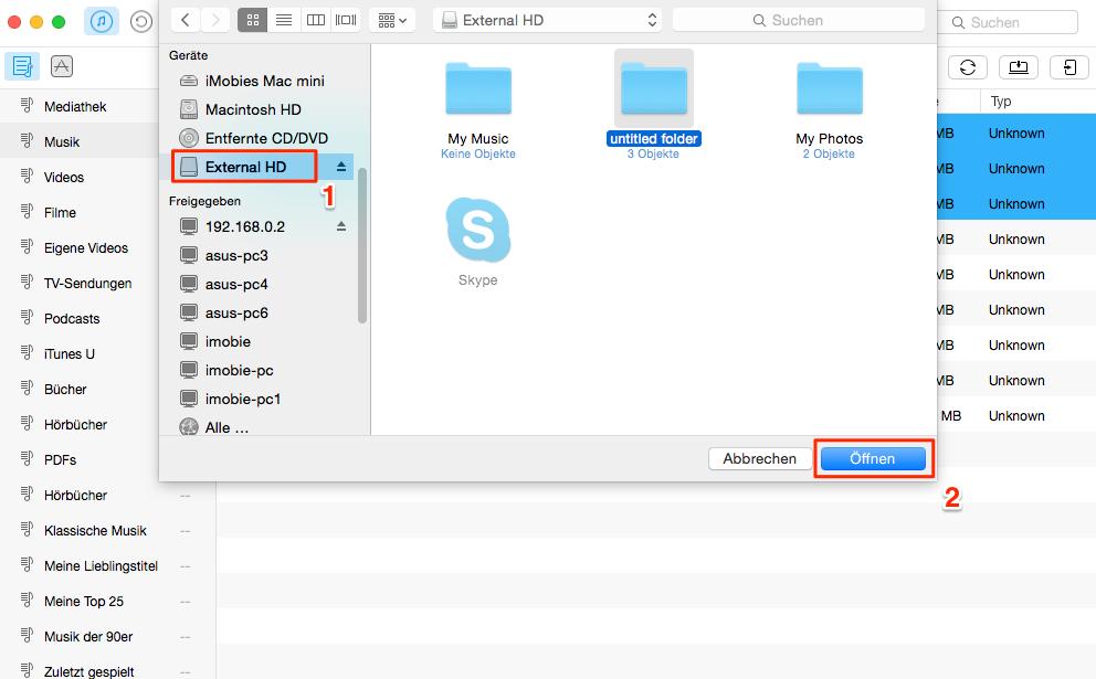 Einfach! iTunes Mediathek auf externe Festplatte sichern - Schritt 2