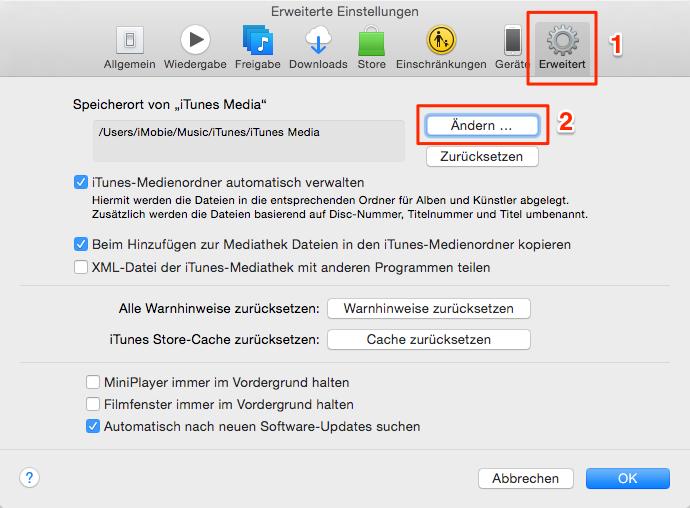 """Speicherort von """"iTunes Media"""" suchen und ändern – Schritt 1"""