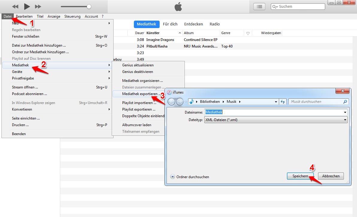 iTunes Mediathek auf Computer verschieben