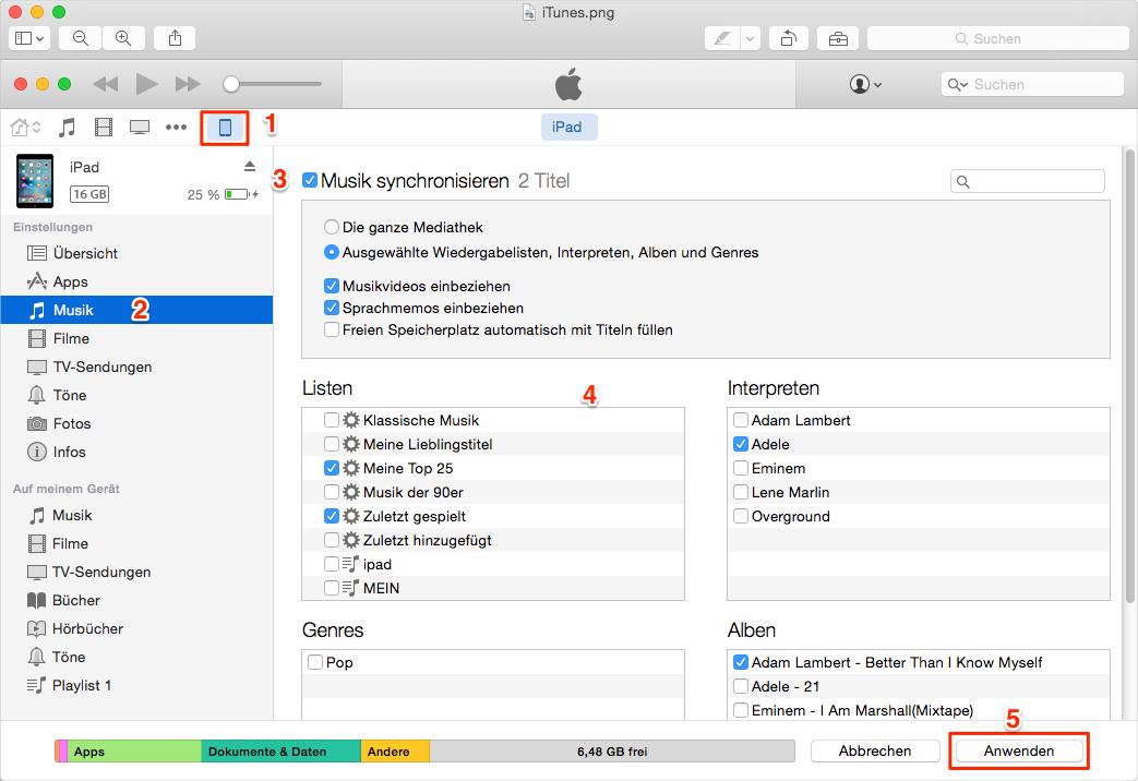iTunes Musik direkt auf iPad übertragen