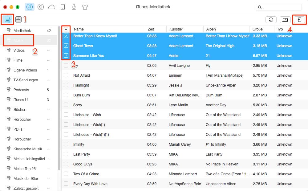 Musik von iTunes mit AnyTrans auf iPad übertragen – Schritt 2