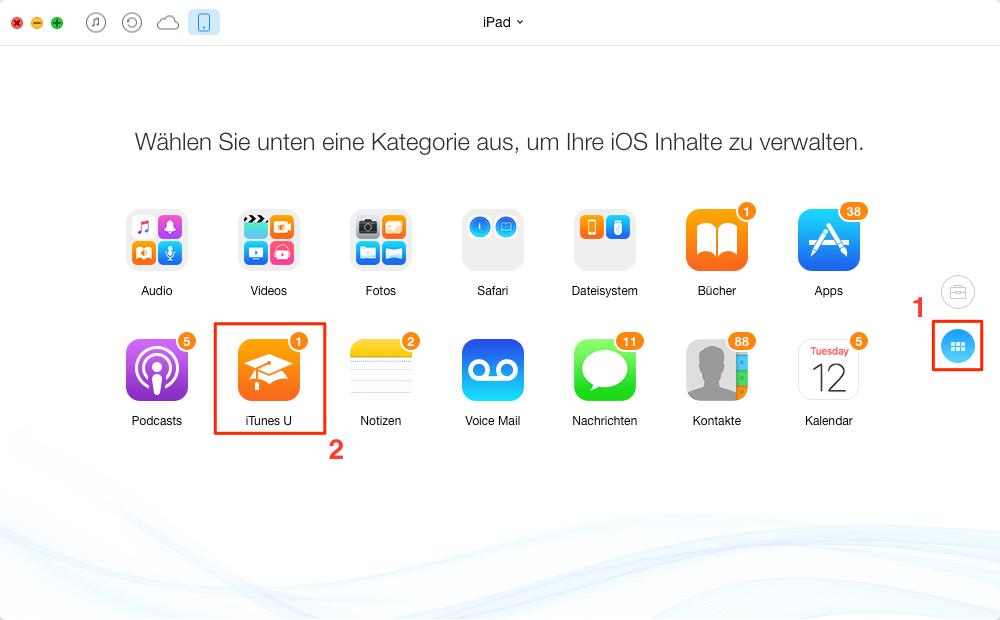AnyTrans starten und iTunes U auswählen – Schritt 1