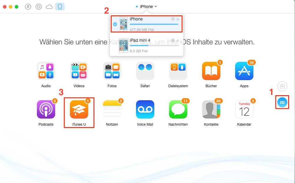 Die Seite vom iPhone öffnen und iTunes U auswählen - Schritt 2