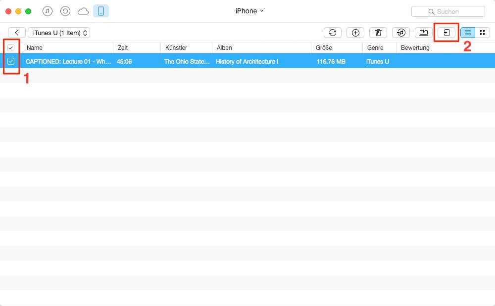 Direkt! iTunes U vom iPhone auf iPad übertragen - Schritt 3