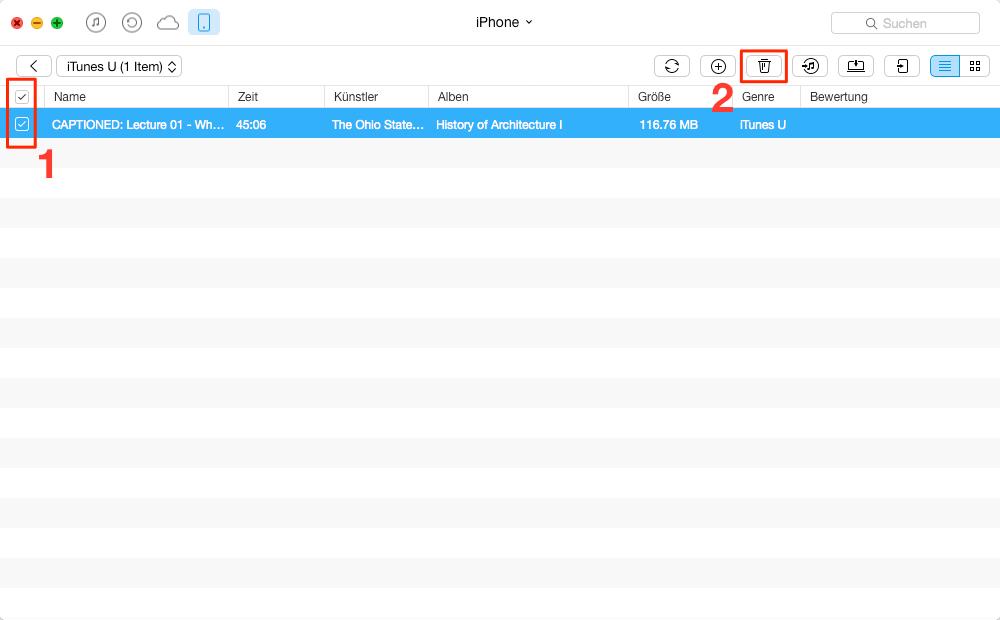 Schnell! iTunes U vom iPhone löschen - Schritt 2